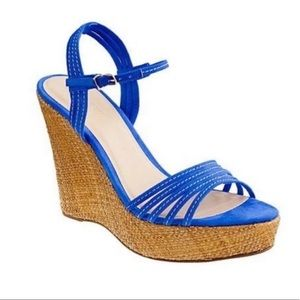 J. Crew Bette blue strappy wedge  Size 6